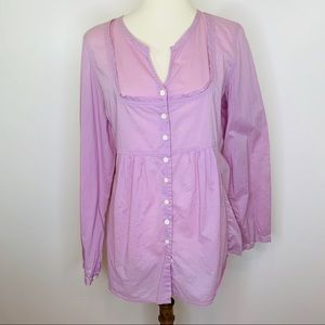 J Jill Cotton Peasant Style Button Up Blouse Sz L